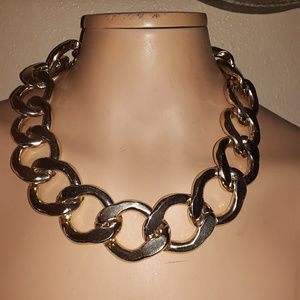 Heavy silver chain linked necklace